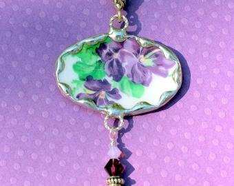 Necklace, Broken China Jewelry, Oval Pendant, Violets purple flowers