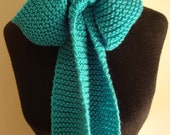 The Original, Authentic BOW KNITS hand knitted, super soft, creative scarf.  Color: True Turquoise