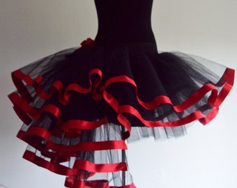 RED  Black Girls Child Tutu Skirt Burlesque please select size at checkout.