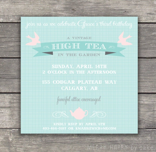 Watch more like Low Tea Party Invitation Wording – Afternoon Tea Party Invitation