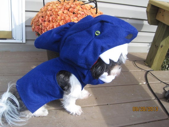 Custom made to Order Shark Dog Halloween Costume for smaller breed dogs SHARK WEEK!