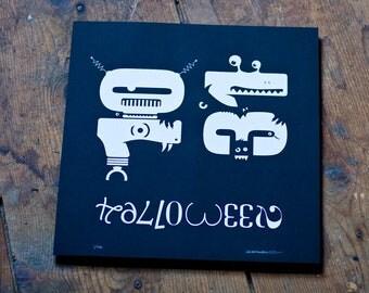 "SALE 50% OFF / Glow in the Dark Halloween Typography Print ""10-31"""