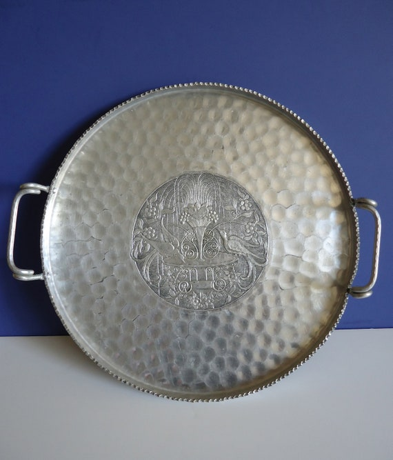 Vintage Cromwell Hand Wrought Aluminum Peacock Tray