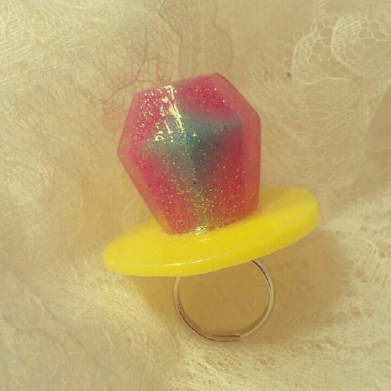 Pink & Blue Glitter Fake Candy Diamond Resin Ring
