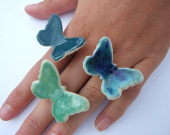 Emerald butterfly ring ceramic statement ring teal blue turquoise ultramarine green