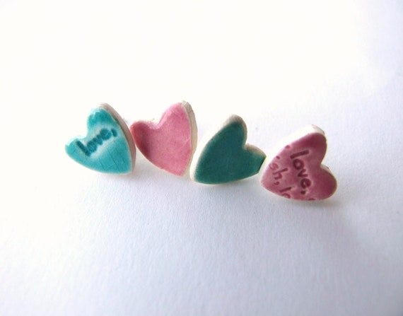 Pink turquoise earring ceramic hearts  silver plated studs aqua rose love words 2 sets mix and match