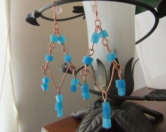 Copper and Aqua Chandelier Earrings