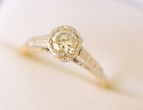 RESERVED /// Art Deco / 1920s platinum and 18k gold diamond ring- 1/2
