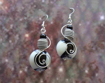 Black and White Glass Wire Wrapped Earrings