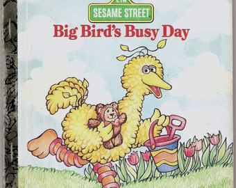 SESAME STREET Big Birds Busy Day Vintage First Little Golden Book Illustrated by Ellen Appleby