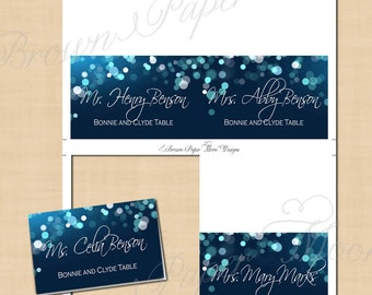 Midnight blue night sky wedding invitation 5x7 portrait midnight blue night sky place card tents fold to 35x2 text pronofoot35fo Images