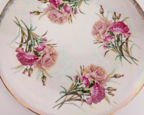 Vintage Iridescent Carnation January Plate Wheelock Peoria Made in Japan Porcelain