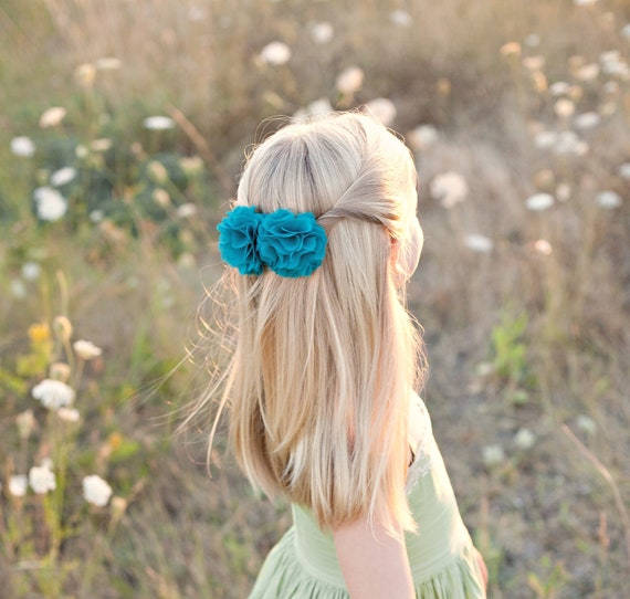 bright teal chiffon flower hair clips for women and girls