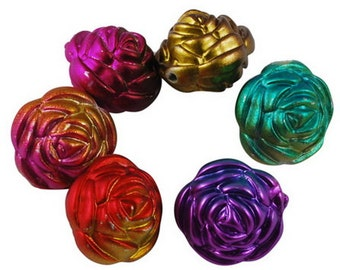 15 ct Acrylic Chunky Flower Metallic Beads 20mm - Mixed Color Assortment
