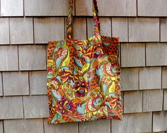 Shoulder bag tote retro vintage fabric orange turquoise yellow