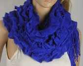 Knitted With Fringe scarf - Long Knit Scarf - - Shawl Scarf - crochet border Scarf - blue
