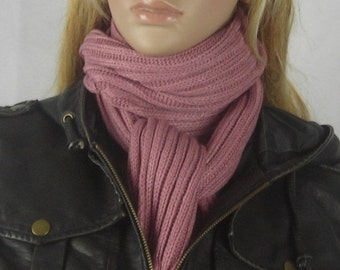 Long Knit Scarf - Knitted With Fringe scarf - cameo Pink - Mauve