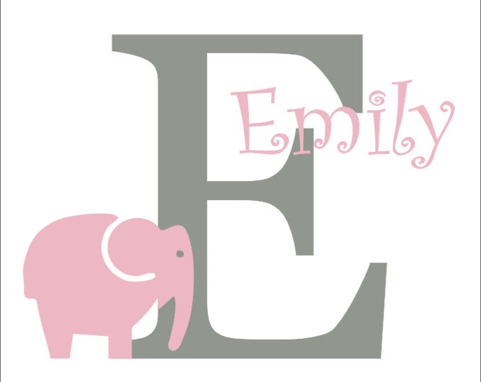 Elephant Vinyl Decal Large Girls Personalized Nursery Bedroom Wall Decal