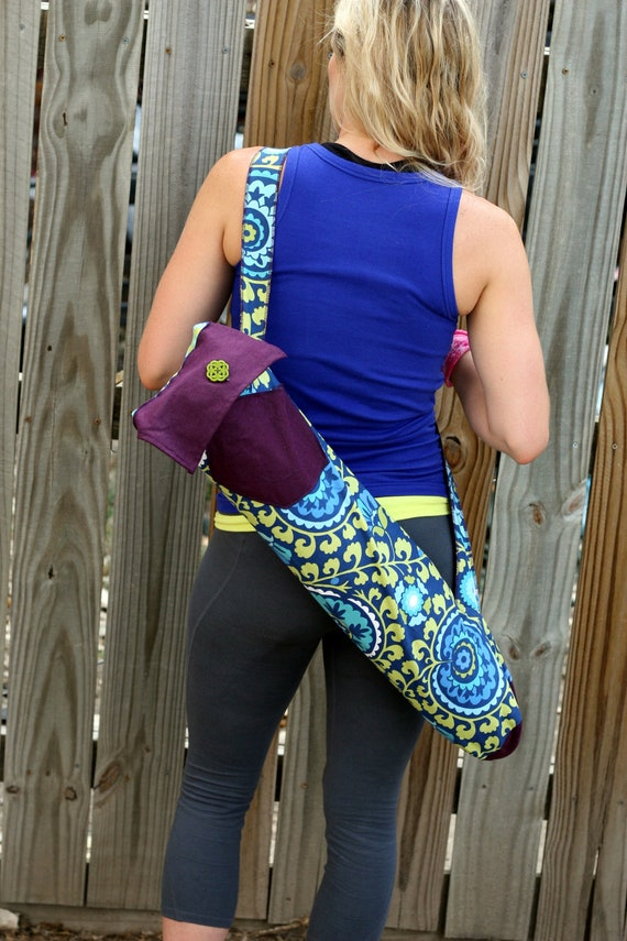 Yoga Pilates Mat Bag- Bright Colored Design with Purple Accent