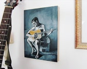 Original acrylic painting on wood, Guitar painting, male figure painting, music painting, blue, picasso
