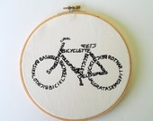Bicycle Word Art - Screen Print Black on White - Stretched in Hoop