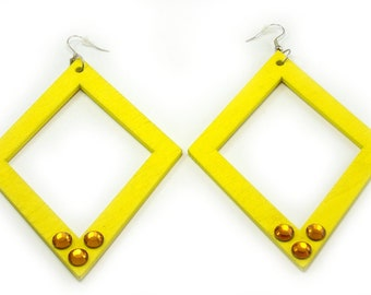SALE Fashion handmade earrings in yellow fluo neon wood and rhinestones Swarovsky