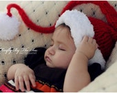 Christmas Baby Santa's little helper hat, perfect newborn holiday photo prop and  warm everyday use hat.