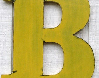 "Large Wall Letters 18"" Tall Wooden ""B"" Distressed in Golden Yellow Home Cottage Nursery Kids Room Decor You Pick Letter and Color"