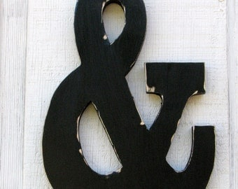 """Ampersand Rustic Wooden Distressed Painted Black,12"""" Tall"""