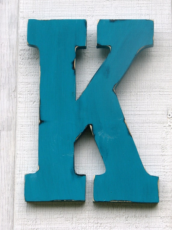 "Guestbook Large Wall Letters Rustic Wooden Letter K Distressed Painted Island Green,18"" tall Wood Name Letters, Custom Wedding Gift"