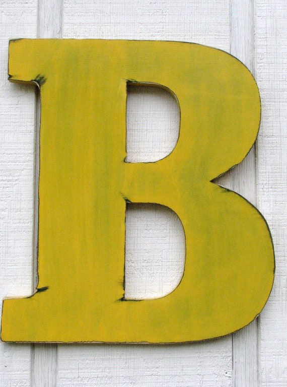 large wall letters 18 tall wooden b distressed in golden ye