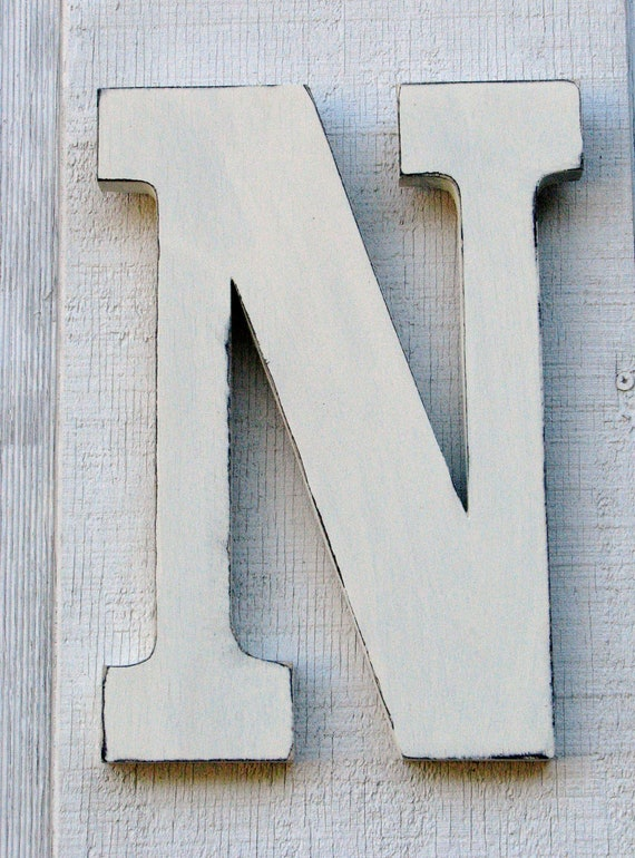 3 d large wooden letter n 12 inch tall distressed for 3 inch wooden letters