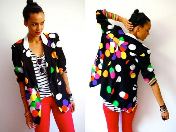 Vtg Colorful Polka Dot Black Printed Blazer