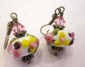 SALE - Sweet Floral Lampwork Earrings, Vintage Inspired Handmade Petite Earrings