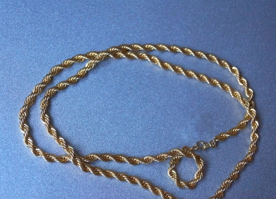 Monet Gold Tone Necklace Rope Design 30""