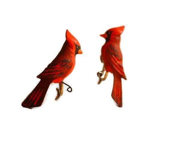 Vintage Cardinal Bird Earrings Carved Wood