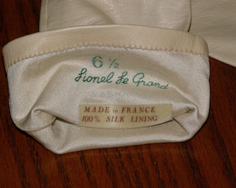 Lionel Le Grand France Super Soft Light Weight Leather Vintage Gloves 6.5 100 percent silk lining