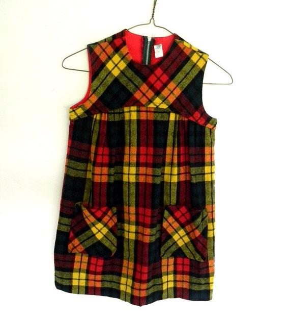 Girls Vintage Jumper, PLaid JUmper School Dress Size 7