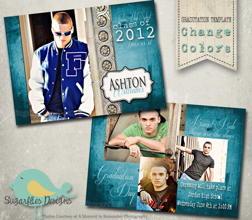 Graduation Announcement PHOTOSHOP TEMPLATE Senior Graduation – Graduation Announcement Template