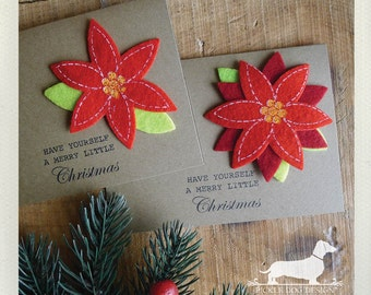 Merry Little Christmas. Note Cards (Set of 5) -- (Christmas Cards, Poinsettia, Flower, Red, Green, Brown Kraft Paper, Simple, Cute, Classic)