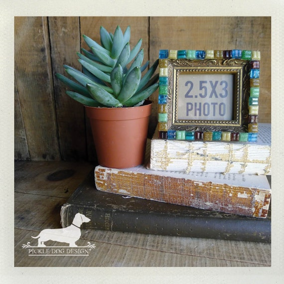 Out to Sea. Photo Frame -- (Vintage-Style, Glass Tile, Mosaic, 2x3 Picture Frame, Home Decor, Unique Gift)