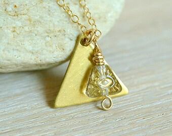 Gold Pyramid Necklace, Egyptian Necklace, Egyptian jewelry, pyramid jewelry, Cleopatra, Eye of the Pyramid