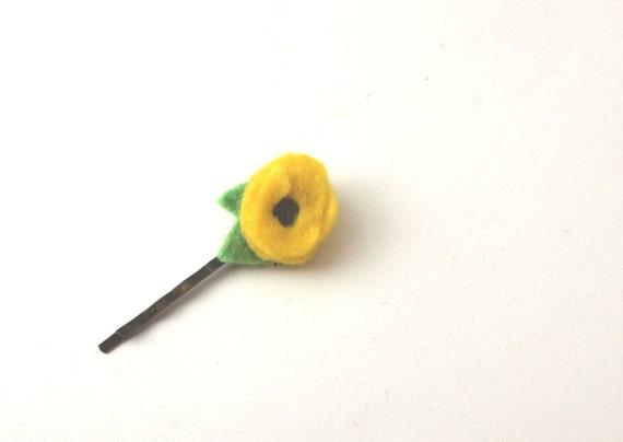 Sunny Yellow Mini Felt Flower Bobby Pin // Flower Girl