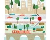 Minneapolis - 11x14 print - city illustration poster wall decor children nursery art