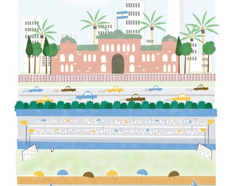 Buenos Aires Argentina - 11x14 print - city illustration poster wall decor children nursery art