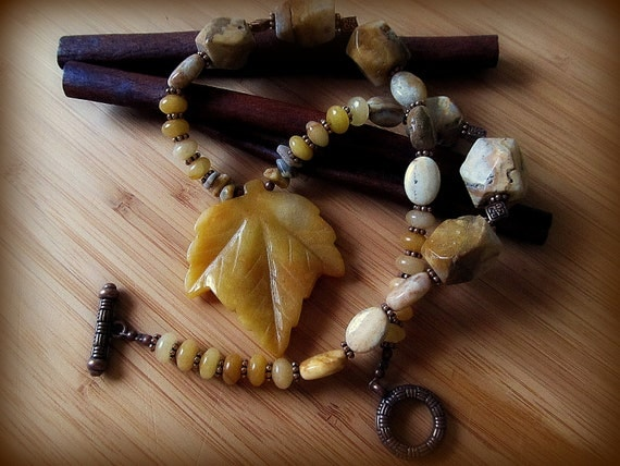 RESERVED-Crazy Lace Agate/Yellow Aventurine Carved Leaf Pendant Necklace--Beautiful Copper Accents, Rich, Warm Colors