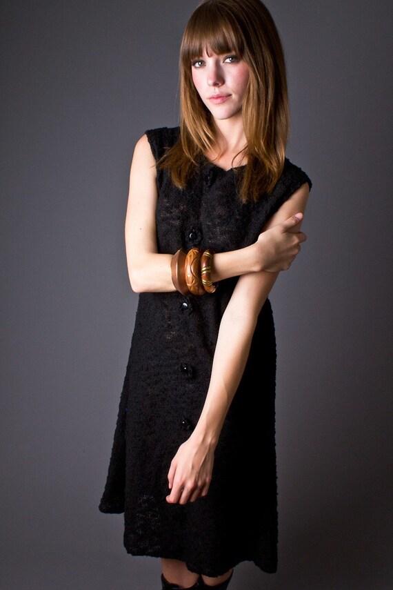 60s Vintage Knit Shift Dress in Black