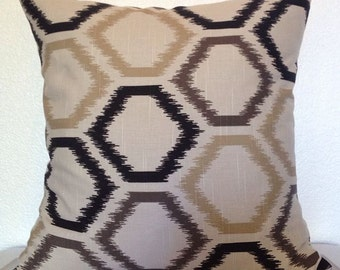 2 Pillow Covers 20x20 inch - Free US Shipping - Ikat Trellis in Toffee by Robert Allen Beautiful Home Decor Fabric