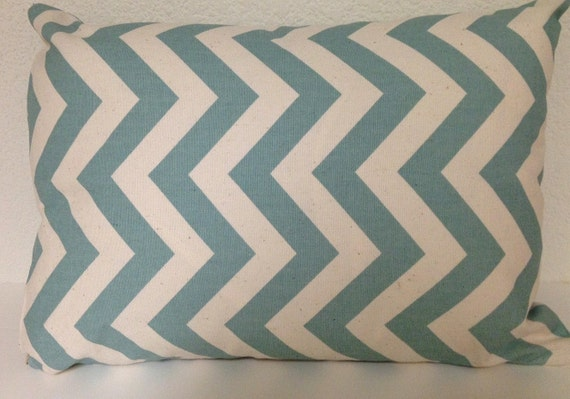 Single Pillow Cover 12x16 or 18 inch-Free US Shipping - Village Blue and Natural  Zig Zag Chevron