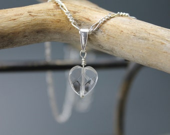 Crystal Heart, rock crystal pendant, sterling silver, Figaro chain, love, heart, white, minimalist, gifts to her